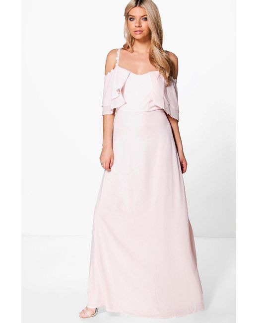 Boohoo   Pink Boutique Cicely Chiffon Frill Maxi Dress   Lyst