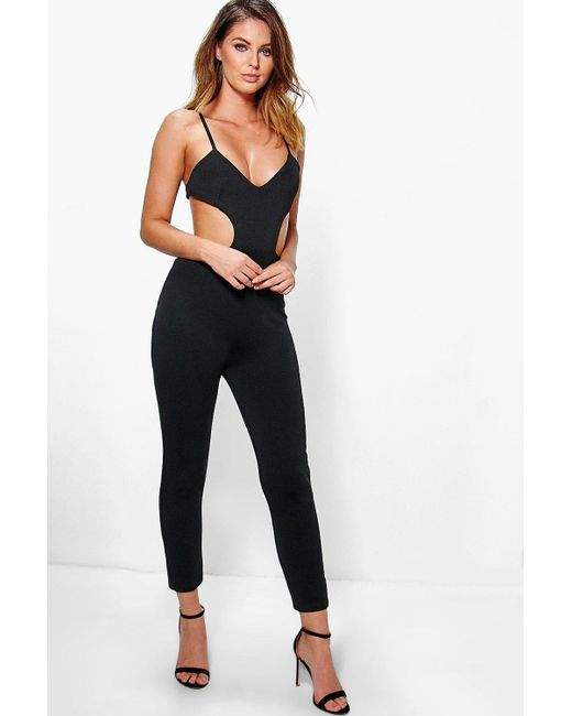 Boohoo Alix Strappy Cut Out Side Skinny Leg Jumpsuit In