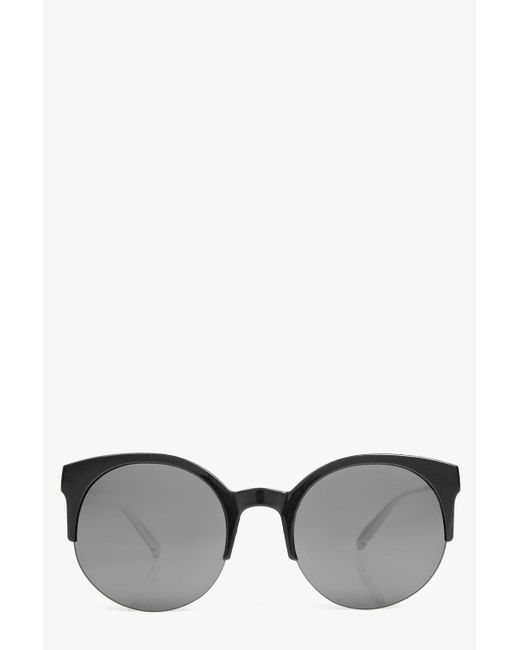 Half Frame Round Eyeglasses : Boohoo Lola Round Half Frame Round Sunglasses in Black Lyst