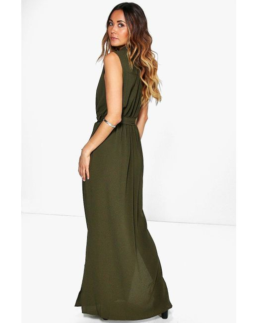 boohoo madeline sleeveless belted maxi dress in black lyst