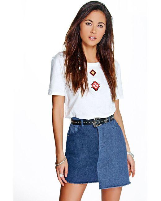 Boohoo   Blue Kyra Asymmetric Two Tone Denim Skirt   Lyst