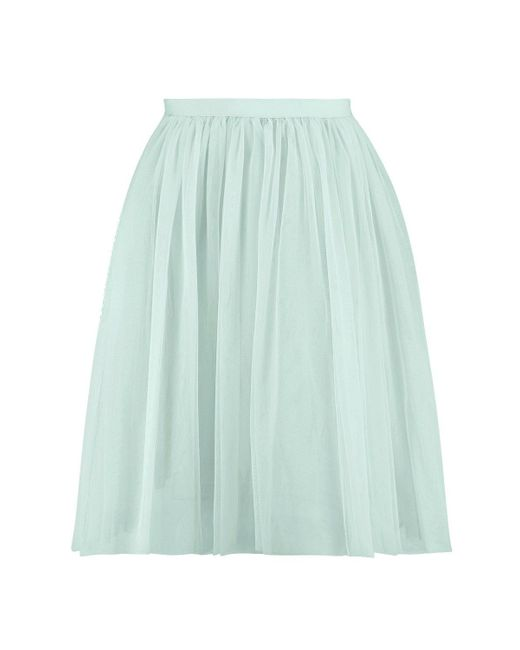 boohoo amara knee length tulle skirt in green mint lyst