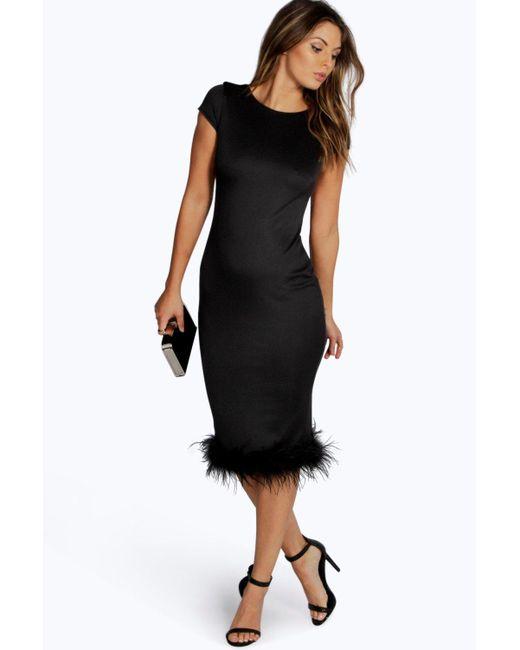 Boohoo Aalyia Feather Hem Midi Bodycon Dress In Black Lyst