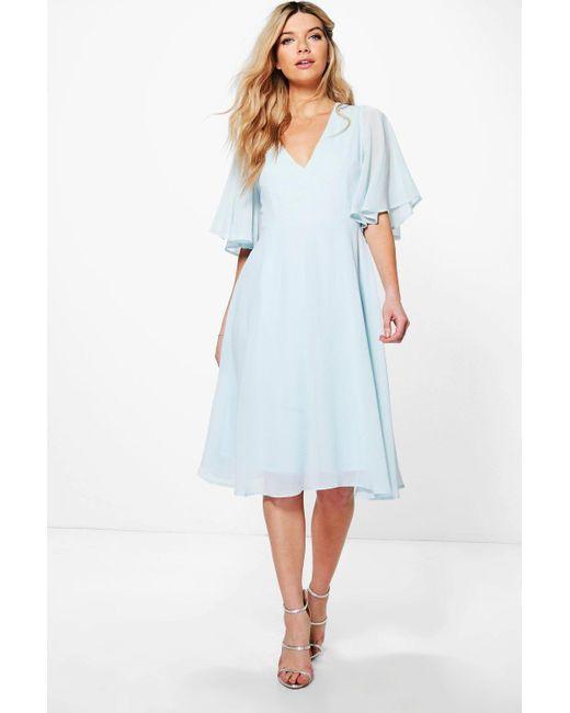 4a563794d5f11 Boohoo - Blue Angel Sleeve Midi Skater Dress - Lyst ...