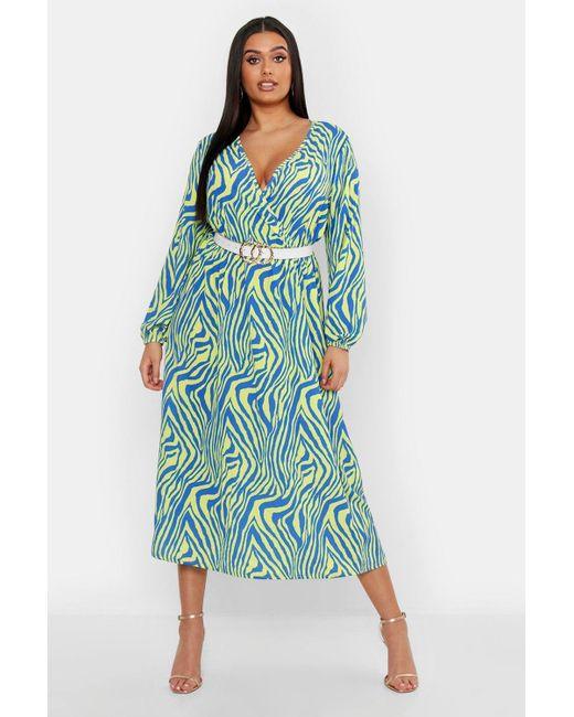 f2884b11f20a Boohoo - Blue Plus Zebra Print Wrap Midi Dress - Lyst ...
