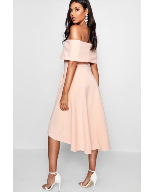 ea2576a9dd6b ... Boohoo - Pink Off The Shoulder Dip Hem Skater Dress - Lyst