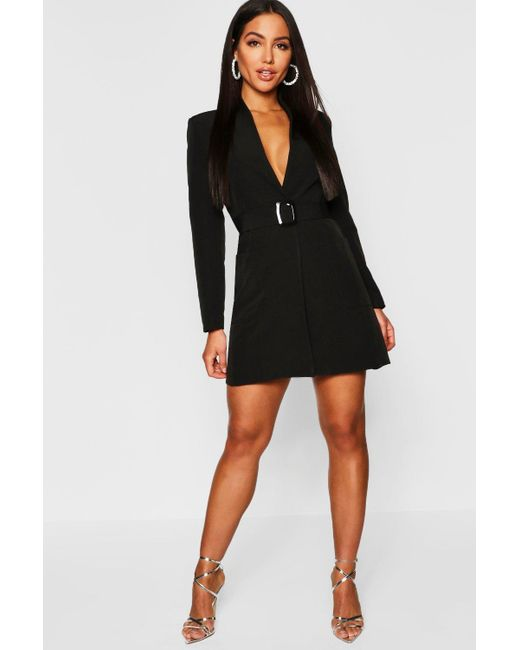 f46cf29f47cf8 Boohoo - Black Belted Pocket Detail Blazer Dress - Lyst ...