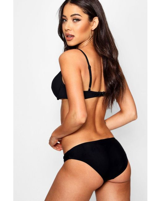 a365de8d42 ... Boohoo - Black Padded Push Up Plunge Underwired Bikini - Lyst ...