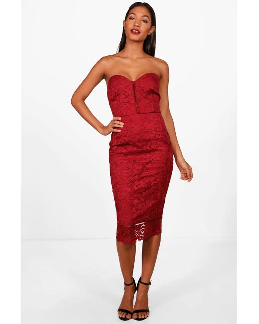 5c6475aa23450 Lyst - Boohoo Boutique Embroidered Organza Midi Dress in Red