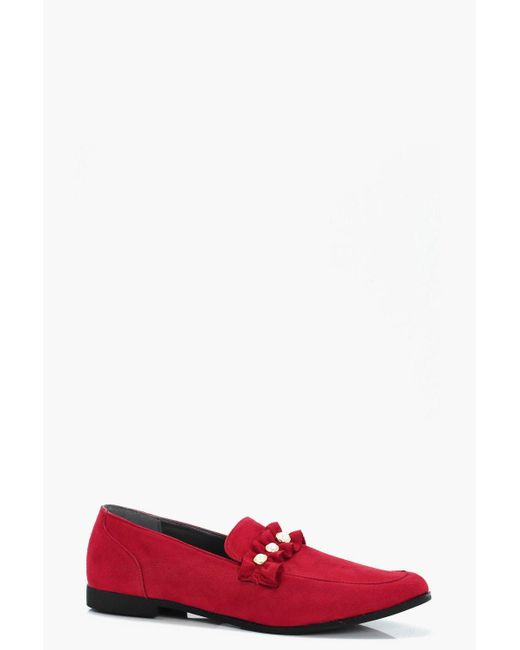 Boohoo   Red Louisa Pearl & Frill Trim Loafer   Lyst