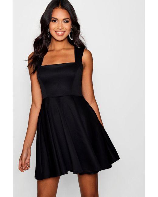 Boohoo - Black Square Neck Skater Dress - Lyst ... eb37009a4