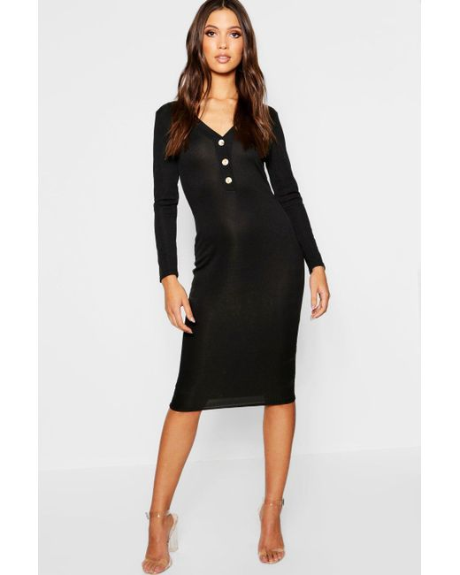 b29374478b4 Boohoo - Black Horn Button Long Sleeve Ribbed Midi Dress - Lyst ...
