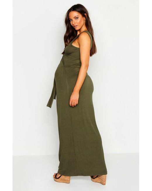9af010032a4 ... Boohoo - Green Maternity Tie Front Nursing Maxi Dress - Lyst