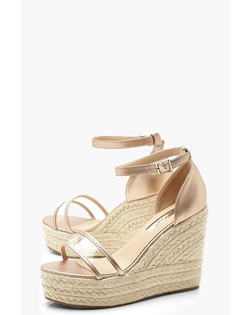 5c4ccf2dffa ... Boohoo - Multicolor Clear Panel Espadrille Wedges - Lyst ...