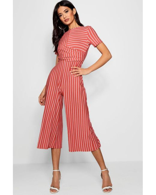 5f7a6919a4 Boohoo - Red Striped Wrap Culotte Jumpsuit - Lyst ...