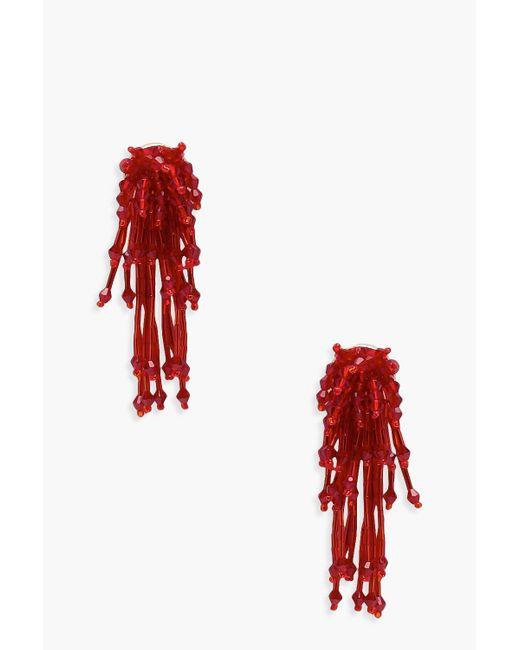 Boohoo - Red Beaded Cluster Drop Earrings - Lyst