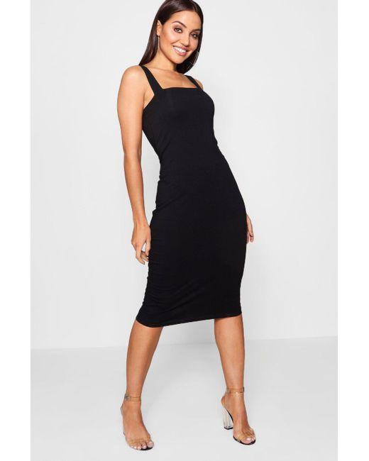 463a77075b Boohoo - Black Square Neck Bodycon Midi Dress - Lyst ...