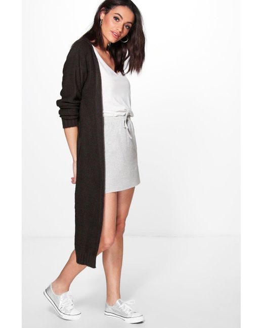 Boohoo   Gray Alexandra Soft Knit Maxi Cardigan   Lyst