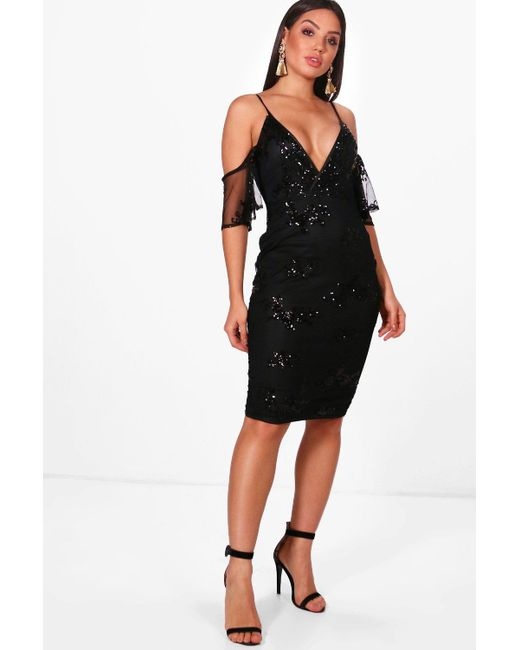 efdaa1d2d3f Lyst - Boohoo Boutique Sequin   Mesh Midi Dress in Black