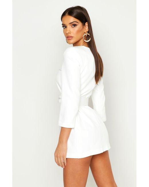 fd923dff332e ... Boohoo - White Collarless Self Belt Blazer Dress - Lyst