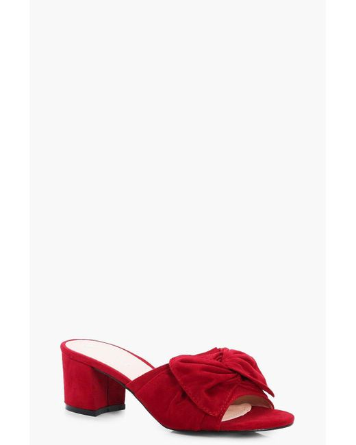 Boohoo | Red Ebony Bow Trim Mule Heel | Lyst