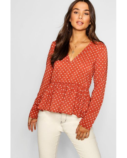 90553e99cbe4ef Boohoo - Red Polka Dot Long Sleeve Peplum Top - Lyst ...