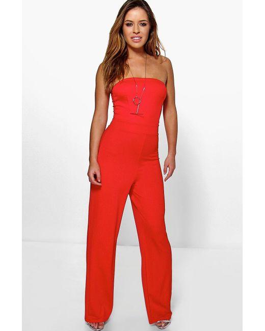 ee6edc8ad3 Boohoo - Red Petite Bandeau Wide Leg Jumpsuit - Lyst ...