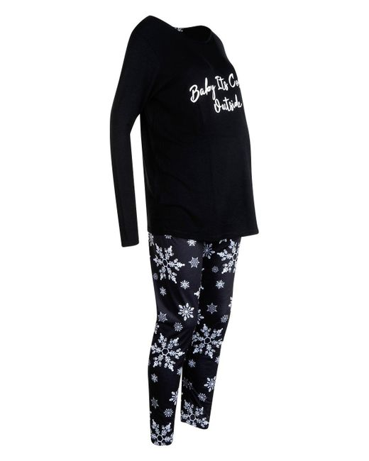2f4770b42d6fa ... Boohoo - Black Maternity Baby It's Cold Outside Pj Set ...
