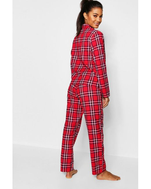 e47ffd0ef4 ... Boohoo - Red Check Brushed Flannel Button Through Pj Set - Lyst ...