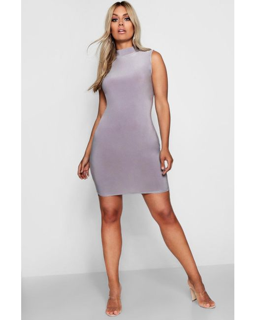 Boohoo - Purple Plus Slinky High Neck Bodycon Dress - Lyst