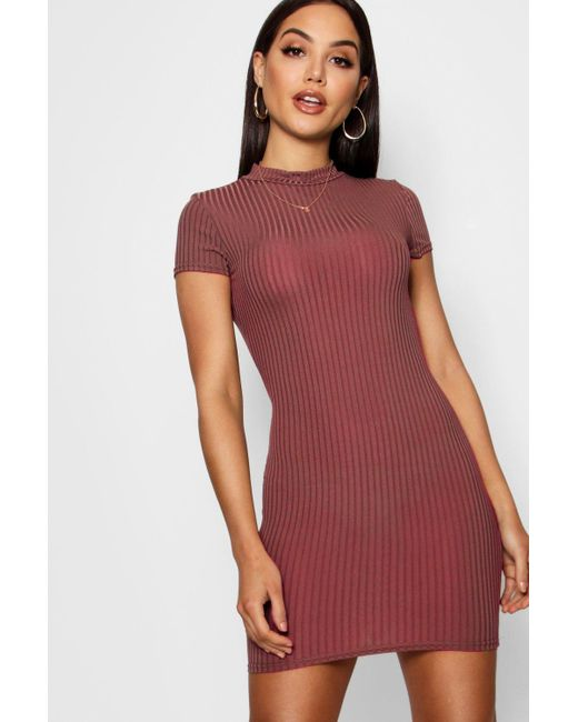 e8f74fd240 Boohoo - Red High Neck Cap Sleeve Rib Bodycon Dress - Lyst ...