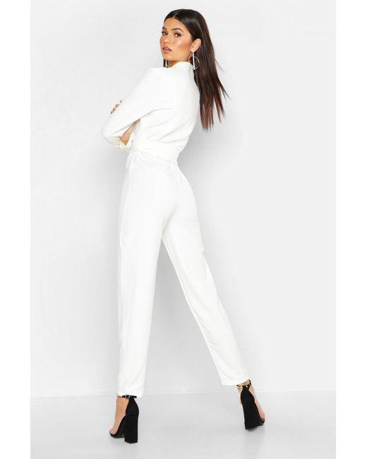 86495381da4 ... Boohoo - White Woven Blazer Diamante Buckle Belted Jumpsuit - Lyst ...