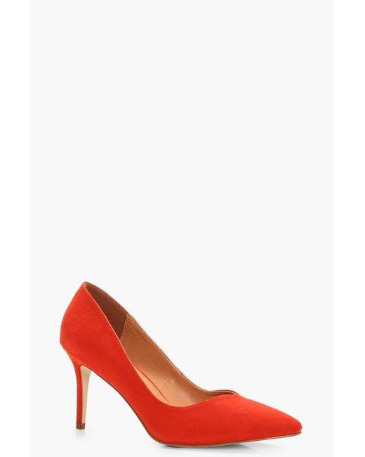 Boohoo | Orange Isabella Pointed Toe V Cut Low Heel | Lyst
