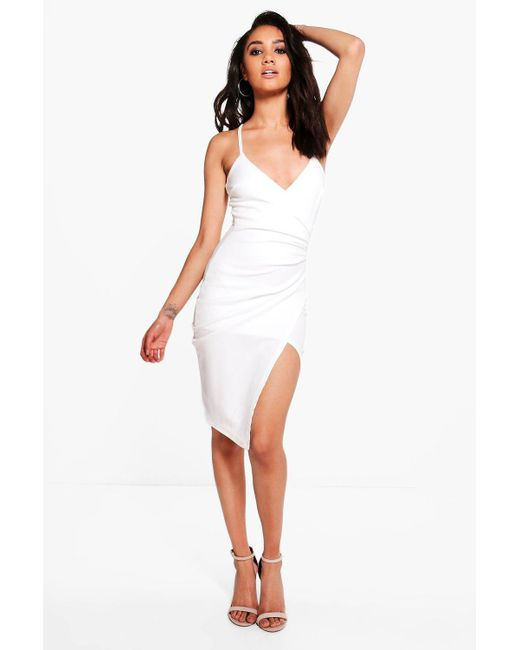 Boohoo | White Petite Kara Strappy Wrap Asymmetric Dress | Lyst