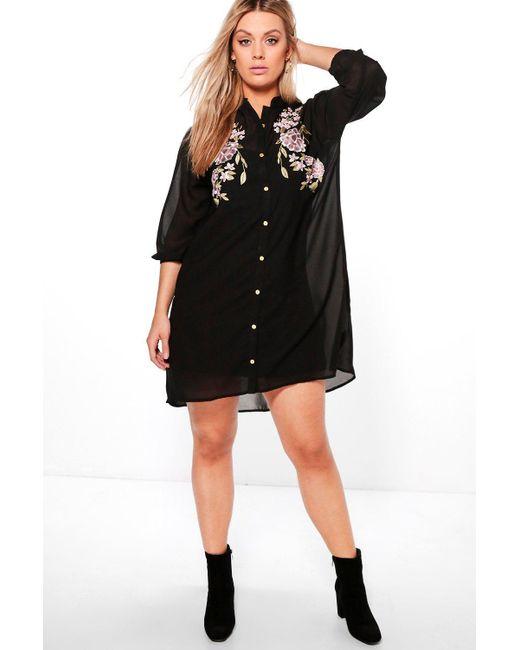 Boohoo | Black Plus Eva Embroidered Shirt Dress | Lyst