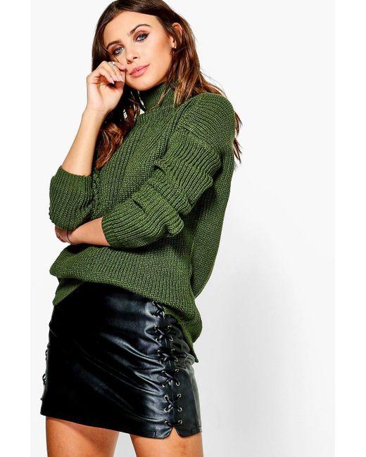 Boohoo | Green Petite Alice Roll Neck Soft Knit Jumper | Lyst