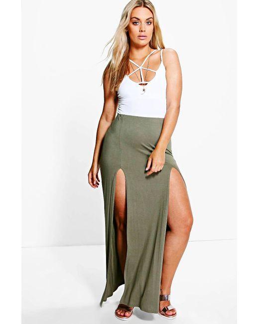 boohoo plus erika split front maxi skirt in green lyst