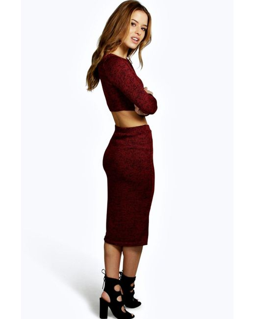 boohoo saskia knitted midi skirt and jumper co ord