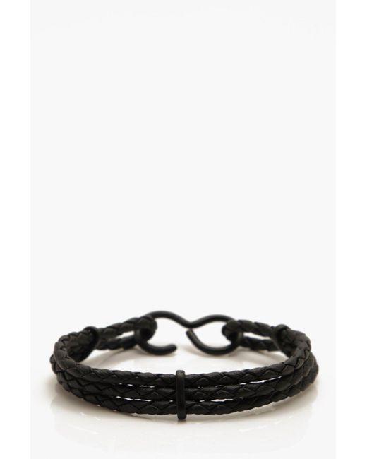 Boohoo - Black Hook Clasp Woven Bracelet for Men - Lyst