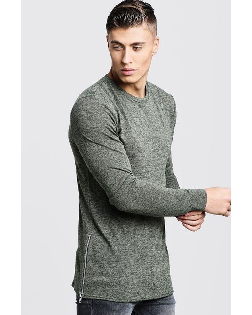 BoohooMAN - Gray Crew Neck Knitted Side Zip Jumper for Men - Lyst