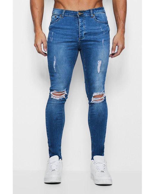 439c41d2713fa Men's Blue Spray On Skinny Jeans In Used-optik