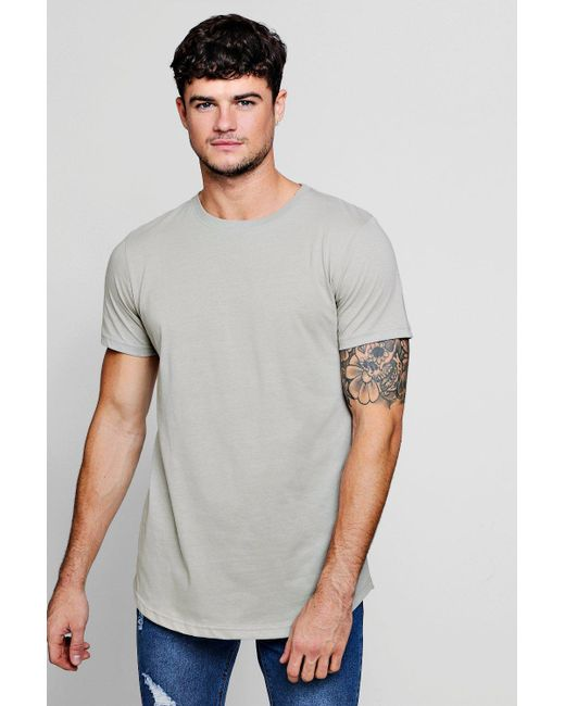 886a0d10936 Boohoo - Gray Long Sleeve Longline T-shirt With Curve Hem for Men - Lyst ...
