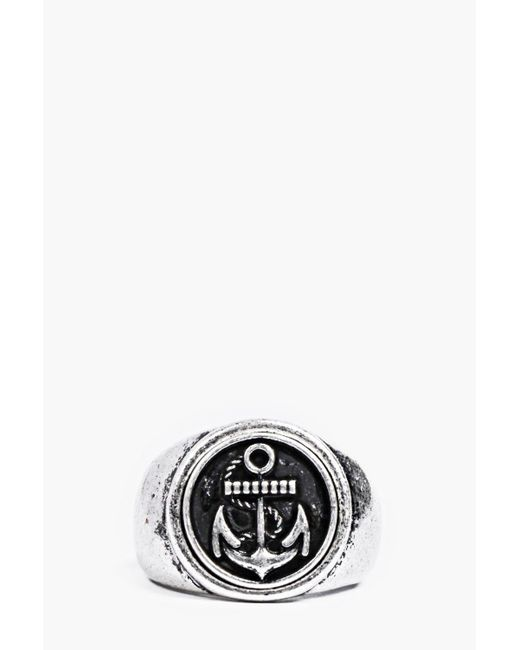 Boohoo | Metallic Brushed Silver Anchor Signet Ring for Men | Lyst