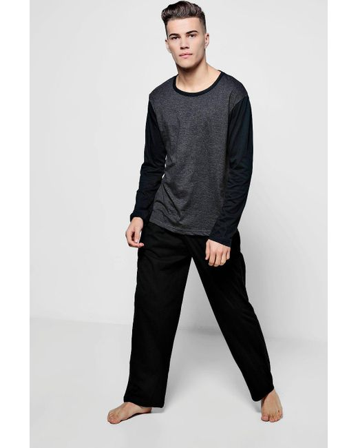 Boohoo | Black Colour Block Jersey Long Sleeve Pj Set for Men | Lyst