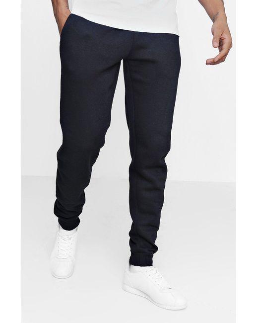 Boohoo - Black Slim Fit Fleece Joggers for Men - Lyst