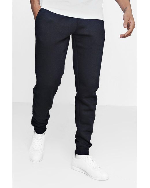 BoohooMAN - Black Slim Fit Fleece Joggers for Men - Lyst
