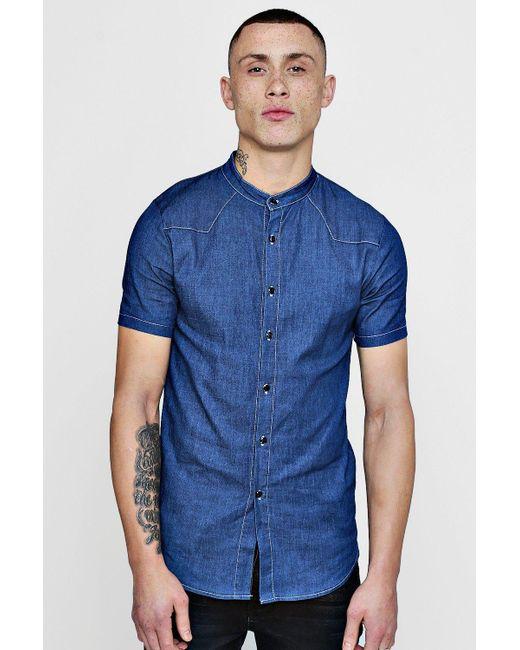 Boohoo - Blue Short Sleeve Denim Chambray Western Shirt for Men - Lyst