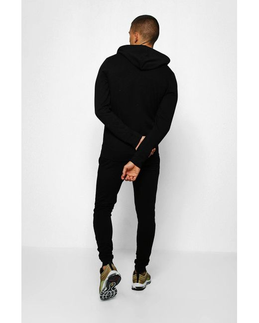 009d45e2 ... Boohoo - Black Muscle Fit Jersey Bm Hooded Tracksuit for Men - Lyst ...
