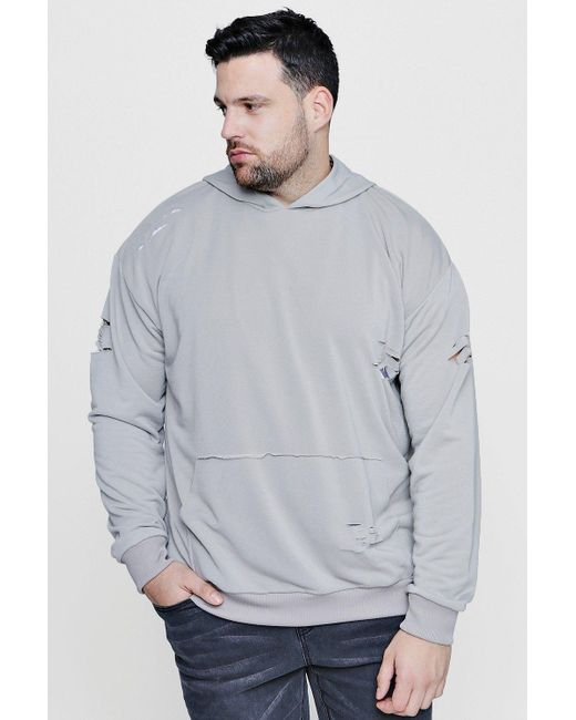 Boohoo | Gray Big & Tall Over The Head Distressed Hoodie for Men | Lyst