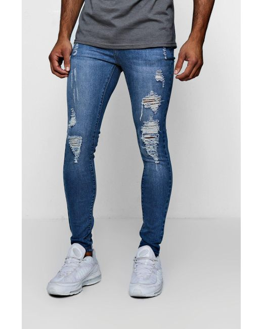 20689e5ef6825 Boohoo - Blue Spray On Skinny Jeans With Distressing for Men - Lyst ...